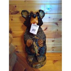 HAND CARVED FISHING BEAR APPROX 30 INCHES