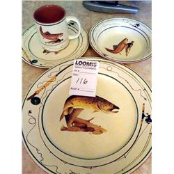 ANGLER STONEWARE 2 FINISH TABLE TOP DINING SET