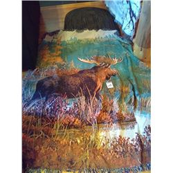 NEW KING SIZE MOOSE KNITTED BLANKET OR WALL ART