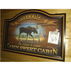WOOD MOOSE WELCOME WALL ART