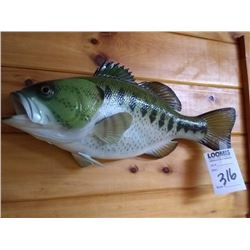 NEW RESIN MANUFACTURED LRG MOUTH BASS WALL MOUNT