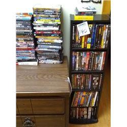 HUGE COLLECTION OF DVD LICENSED MOVIES W  FLOOR RACK