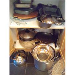 CABINET LOT OF POTS & PANS