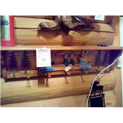 WOOD HANDMADE WALL SHELF W HOOKS