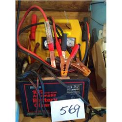 LOT OF BATTERY CHARGER & PORTABLE CHARGER/AIR COMPRESSOR