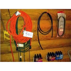 EXTENSION CORDS, TECH 2000 OIL, HAND SAW, SNOWMOBILE BELT, ITEMS SHOWN