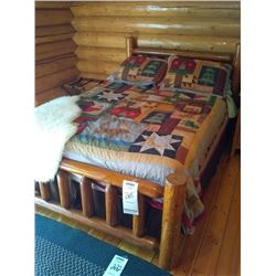 CUSTOM WOOD LODGE BED w BEDDING