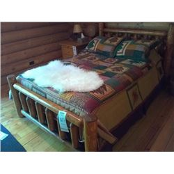 BEAUTIFUL CUSTOM LODGE BED, WITH BEDDING