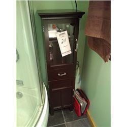 TALL WOOD/GLASS BATHROOM CABINET / LIKE NEW