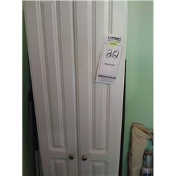 LIKE NEW WHITE DBL DOOR TALL CABINET