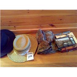2 MEN'S HATS, PAIR OF CABELA'S CAMO FLEECE MITTENS, 4X6 PICTURE FRAME IN BOX