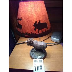 RESIN MOOSE TABLE TOP LAMP WITH SILHOUETTE SHADE