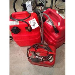 GASOLINE CAN & SIPHON LOT *1 LARGE CAN FULL OF GAS