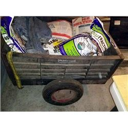DUMP TRAILER, BY RUBBERMAID, AND CONTENTS OF TRAILER