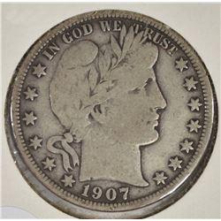 1907-O BARBER HALF DOLLAR FINE