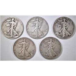 5 1933-S WALKING LIBERTY HALF DOLLARS