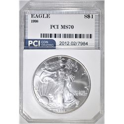 1998 AMERICAN SILVER EAGLE  PCI  PERFECT GEM