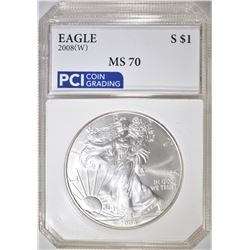 2008-W AMERICAN SILVER EAGLE  PCI PERFECT GEM