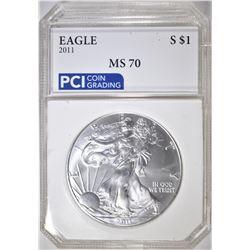 2011 AMERICAN SILVER EAGLE  PCI PERFECT GEM