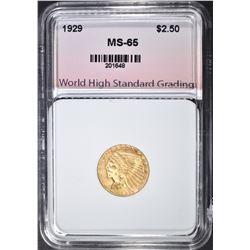 1929 $2.5 GOLD INDIAN  WHSG GEM BU