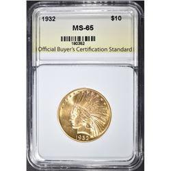1932 $10 GOLD INDIAN  OBCS GEM BU