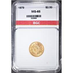 1879 $2.5 GOLD LIBERTY  BGC GEM BU