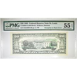 1993 $20 FRN OF ST. LOUIS.  PMG 55 EPQ