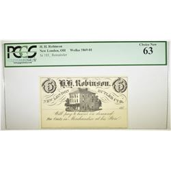 1850'S 5 CENT NEW LONDON, OHIO PCGS 63