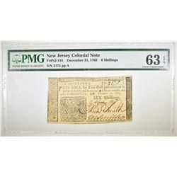 1763 6 SHILLINGS  NJ COLONIAL NOTE.  PMG 63 EPQ