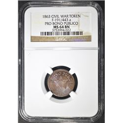 1863 CWT  NGC MS-64 BN WITH RED SHOWING.