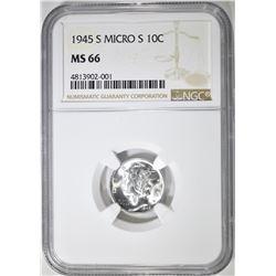1945-S (MICRO S) MERCURY DIME  NGC MS-66