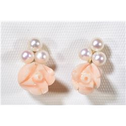 14KT GOLD PEARLS & PINK CORAL EARRINGS
