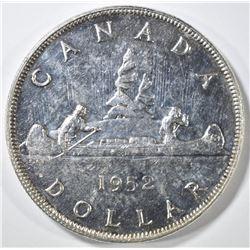 1952 CANADA SILVER DOLLAR  GEM BU PL