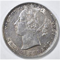1900 SILVER 20 CENT CANADA  CHOICE BU
