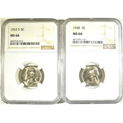 1948 & 53-S JEFFERSON NICKELS, NGC MS-66