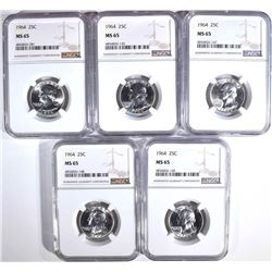 ( 5 ) 1964 WASHINGTON QTRS NGC MS65