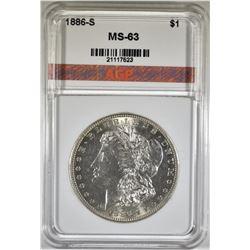 1886-S MORGAN DOLLAR, AGP GEM BU