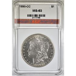 1890-CC MORGAN DOLLAR, AGP CH BU