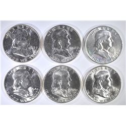 6 GEM BU FRANKLIN HALVES