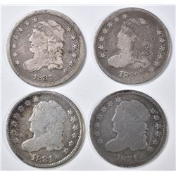 4 BUST HALF DIMES MOSTLY VG SOME PROBLEMS