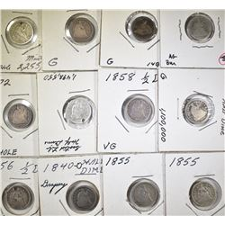 12 SEATED HALF DIMES MOSTLY LOW GRADE OR PROBLEM