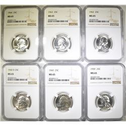 6 WASHINGTON QUARTERS ALL NGC MS-65