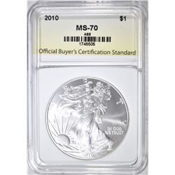 2010 AM. SILVER EAGLE, PERFECT GEM