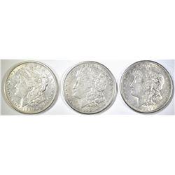 1921-D & 2 21-S MORGAN DOLLARS, AU/BU