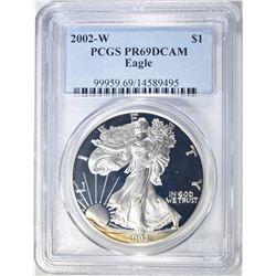 2002-W AMERICAN SILVER EAGLE, PCGS PR-69 DCAM