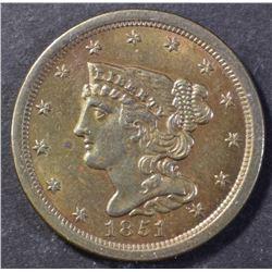1851 HALF CENT, CH BU+ NICE!!