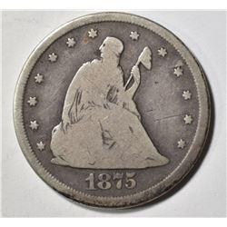 1875-CC TWENTY CENT PIECE, FINE