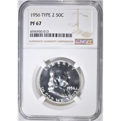 1956 TYPE 2 FRANKLIN HALF DOLLAR  NGC PF-67