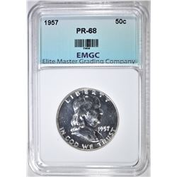 1957 FRANKLIN HALF DOLLAR  EMGC PROOF SUPERB GEM+