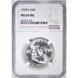 1958-D FRANKLIN HALF DOLLAR  NGC MS-64 FBL